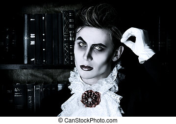 immortal - Handsome vampire nobleman studying ancient books...