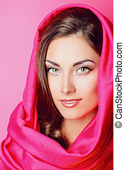 headscarf - Beauty portrait of a positive young woman in...