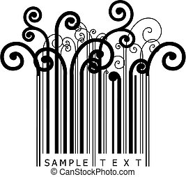 floral barcode - vector