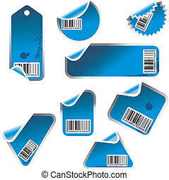 blue stickers - blue tag and sticker set with bar codes