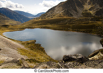 Aerial view - Pedourres lake - Aerial view on Pedourres lake...