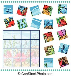 Jigsaw Puzzle game for Children with funny crab