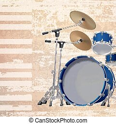 abstract grunge background with drum kit - abstract beige...