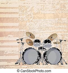 abstract grunge piano background with black drum kit -...