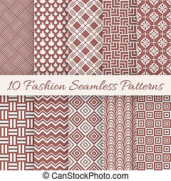 Fashion marsala color seamless pattern set Vector...