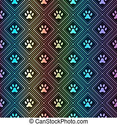 Seamless animal spectrum pattern of paw footprint in...