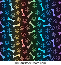 Animal spectrum seamless vector pattern of paw footprint and...
