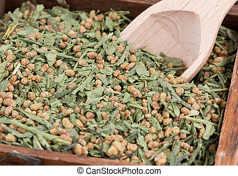 Japanese tea specialty - Genmaicha green tea with roasted...