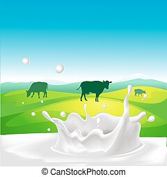 vector design with cow, milk splash and landscape