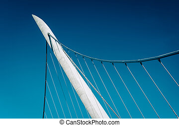 Architectural details of the Harbor Drive Pedestrian Bridge in S