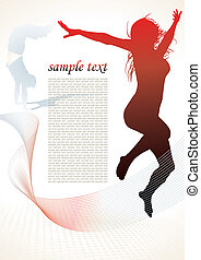 active people silhouettes background - vector illustration