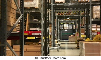 warehouse with goods in large shopping center - warehouse...
