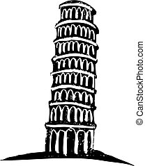 Leaning Tower of Pisa - Black and White woodcut style...