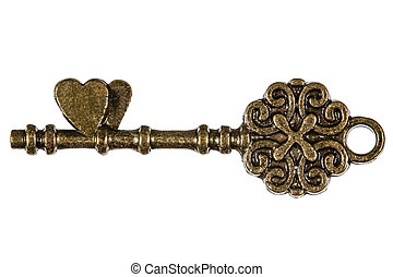 Key from the heart, a symbol of romantic relationships,...