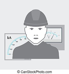 vector electrician worker - vector illustration of...