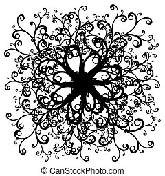 symmetrical curly black and white illustration - vector...