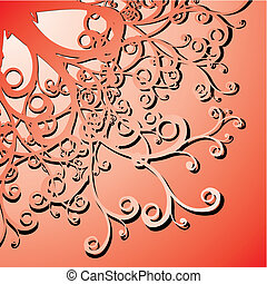 curly illustration - red curly background - vector...