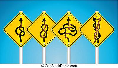 warning traffic signs - vector illustration