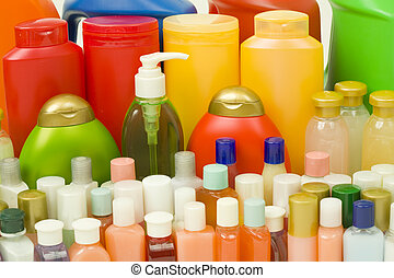 Hygiene Products in Colorful Bottles