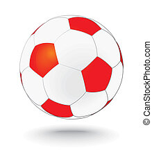 simply red and white soccerball, football - simply red and...