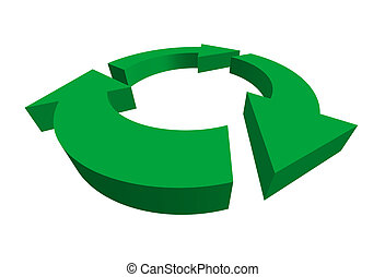 isolated 3D green recycle symbol