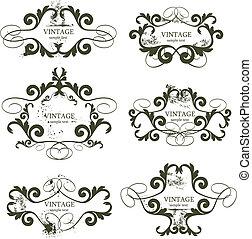 vintage frames - curly grunge vintage frames - vector...