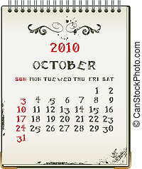 october 2010 - grunge 2010 calendar with a blanknote paper -...