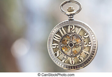 Close up on vintage pocket watch - Old pocket watch