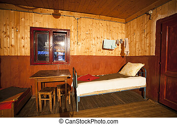 Interior of poor house - Old, poor room in a cottage in...