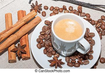 Cafe con espuma y canela - Taza de cafe con espuma y canela,...