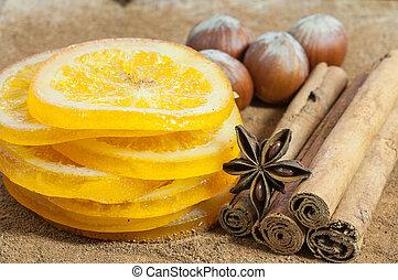 Naranjas con canela - Rodajas de naranjas secas con canela,...