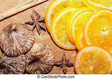 Naranjas con higos - Rodajas de naranjas con higos, canela y...