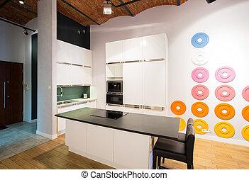 Small kitchen area in the attic