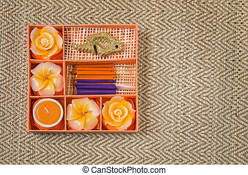 Spa Set Roses Shaped Candles, incense sticks in orange box