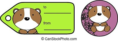cute baby hamster giftcard sticker in vector format very...