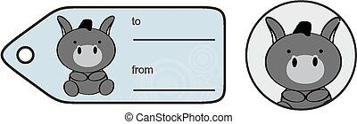 cute baby donkey giftcard sticker in vector format very easy...