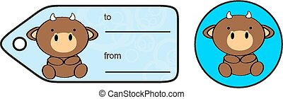 cute baby bull giftcard sticker in vector format very easy...