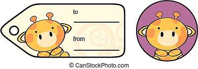 cute baby giraffe giftcard sticker in vector format very...