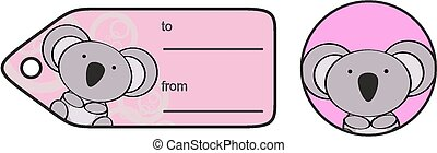 cute baby koala giftcard sticker in vector format very easy...