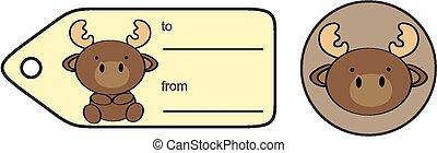 cute baby reindeer giftcard sticker in vector format very...