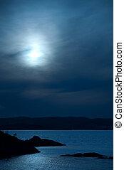 Ocean view in the moonlight - Scenic ocean view in the...