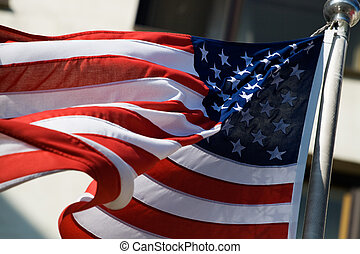 US flag in the wind - Flag of United States of America in...