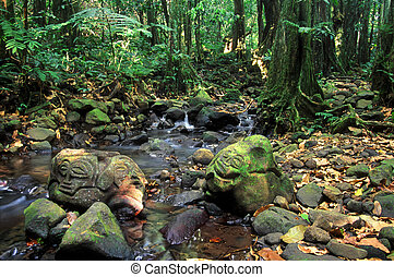 French Polynesia Rainforest Rock Carvings - Old stone...