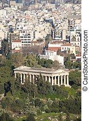 templo, de, Hephaistos, en, parque, al lado de, suburbios,