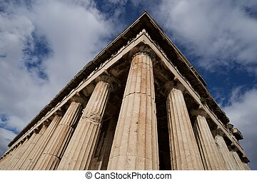 columnata, y, techo, de, templo, de, Hephaistos,