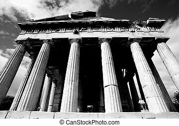 mono, frente, columnata, de, templo, de, Hephaistos,