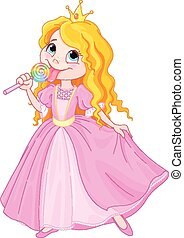 Princess licks lollipop - Illustration of cute princess...