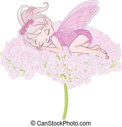 Sleeping Pixy Fairy - Illustration of cute sleeping Pixy...