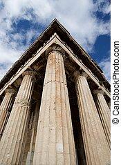 Esquina, de, Mármol, templo, de, Hephaistos, columnata,