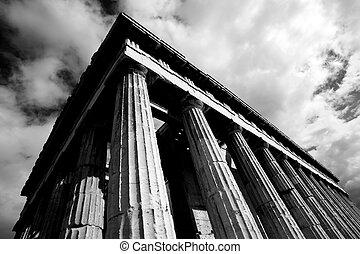 mono, Esquina, de, templo, de, Hephaistos, columnata,